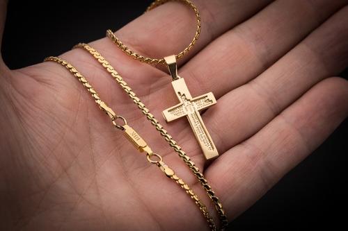 corrente cordão pingente cruz aço inox j-427 banhado ouro