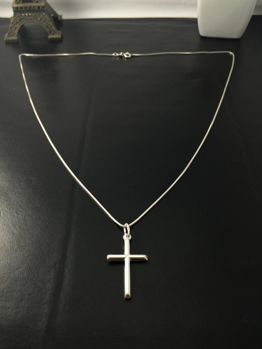 4434fdc499 corrente cordão prata maciça 925 c  pingente crucifixo 60cm. Carregando  zoom.