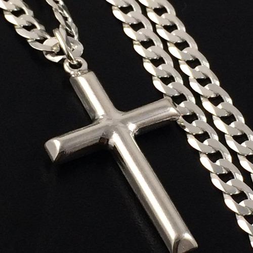 corrente cordão prata maciça 925 grumet flat 60 cm pingente