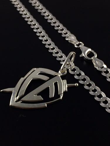 corrente cordão prata maciça 925 grumet flat 60cm pingente