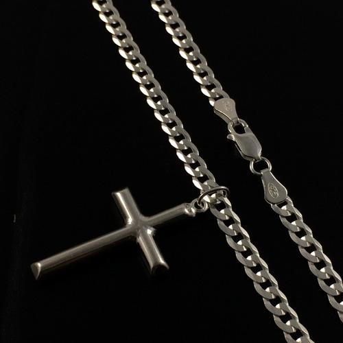 corrente cordão prata maciça 925 gurme flat 90 cm pingente