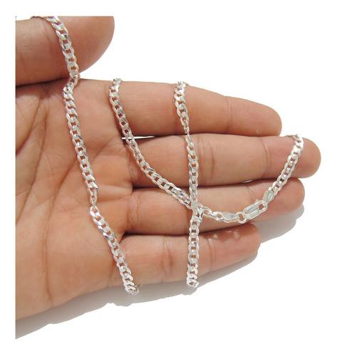 corrente cordão prata masculino grumet 1 por 1 60cm 4mm + cx