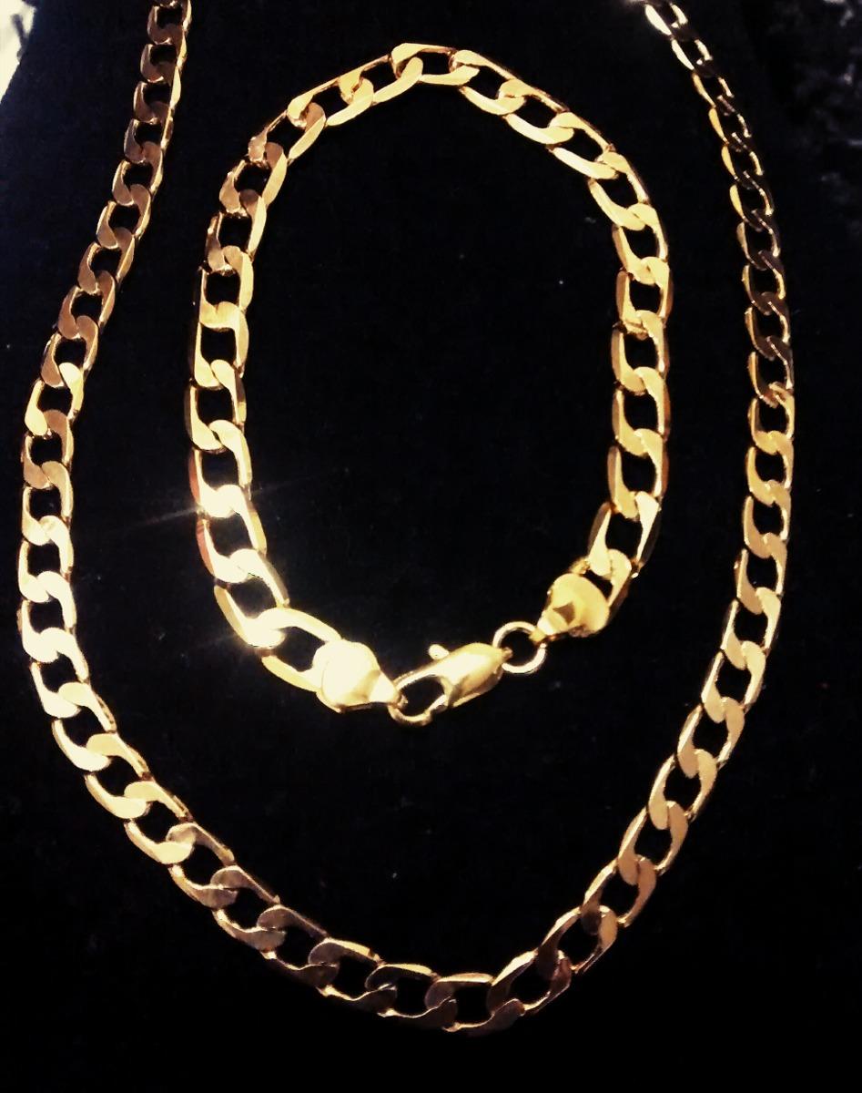 fe5c7984ba7 Corrente Cordão+pulseira Masculino Aço Inoxidável Dourado - R  29