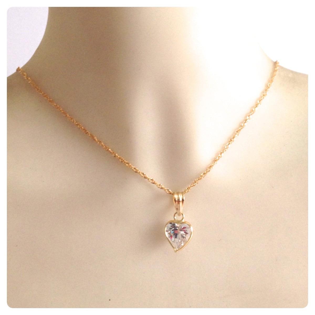 corrente cordão singapura e pingente coração joia ouro 18k. Carregando zoom. 560de6b544