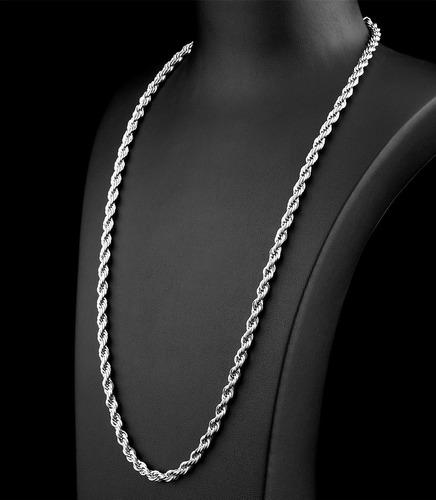 corrente cordão torcido masculino 70 cm aço inox cirúrgico