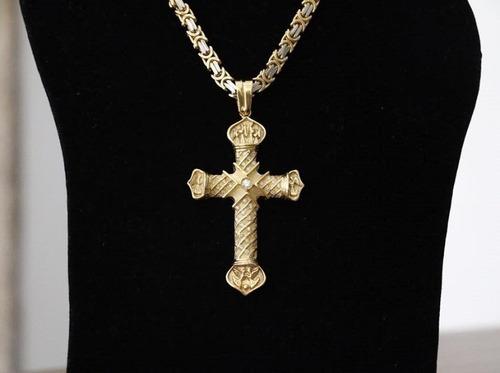 corrente  + crucifixo ouro 18k + brilhantes 60cm