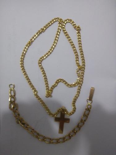 corrente de ouro 18 com crusifixo  mais pulseira de ouro 16
