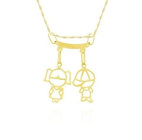 Corrente De Ouro 18k 45cm+ Pingente 2 Filhos Menino  Menina - R  467,00 em  Mercado Livre 34928501fc