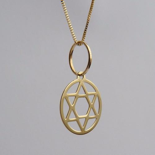corrente de ouro 18k com pingente hexagrama alma humana 1061