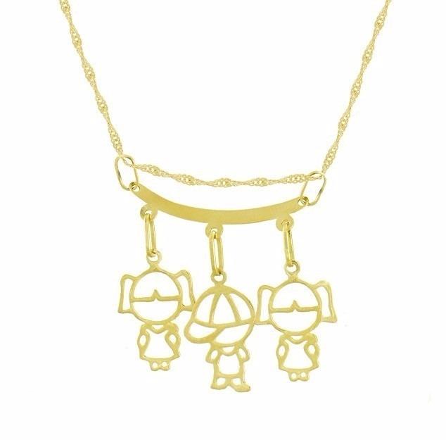 Corrente De Ouro 18k+ Pingente Canga Filhos Menino Ou Menina - R  590,00 em  Mercado Livre 63296bc51e