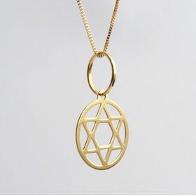 Corrente De Ouro 18k Pingente Com Hexagrama Alma Humana 1061