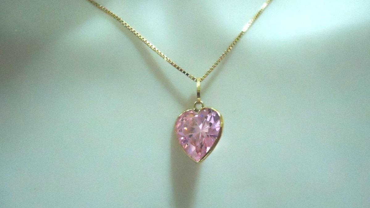 391d3df84485a Corrente De Ouro 18k Pingente Coração Rosa Brilhante 6 Mm - R  346 ...