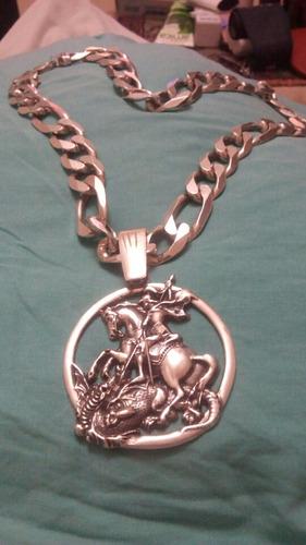 corrente de prata 925 com pingente de s. jorge, peso 275 g