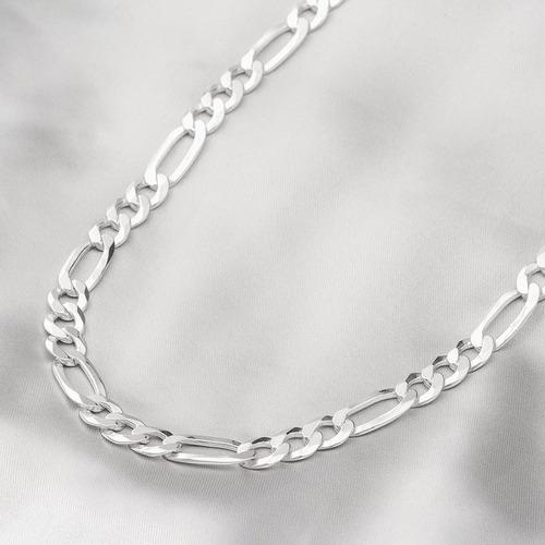 corrente de prata masculina fígaro flat prata fina