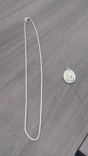 corrente de prata + pingente nossa srª de lourdes
