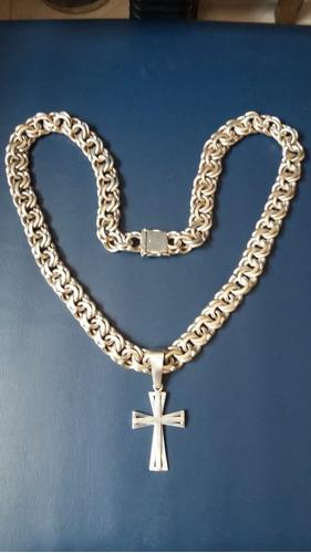 corrente e crucifixo prata