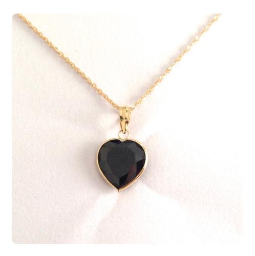 corrente e pingente coração de 10mm joia de ouro 18k 45 cm