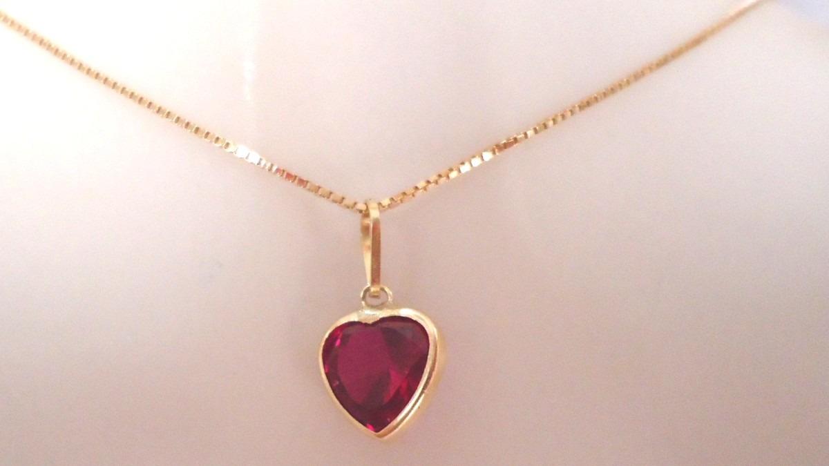 corrente e pingente coração pedra vermelha ouro 18k com 40cm. Carregando  zoom. 2010762b94