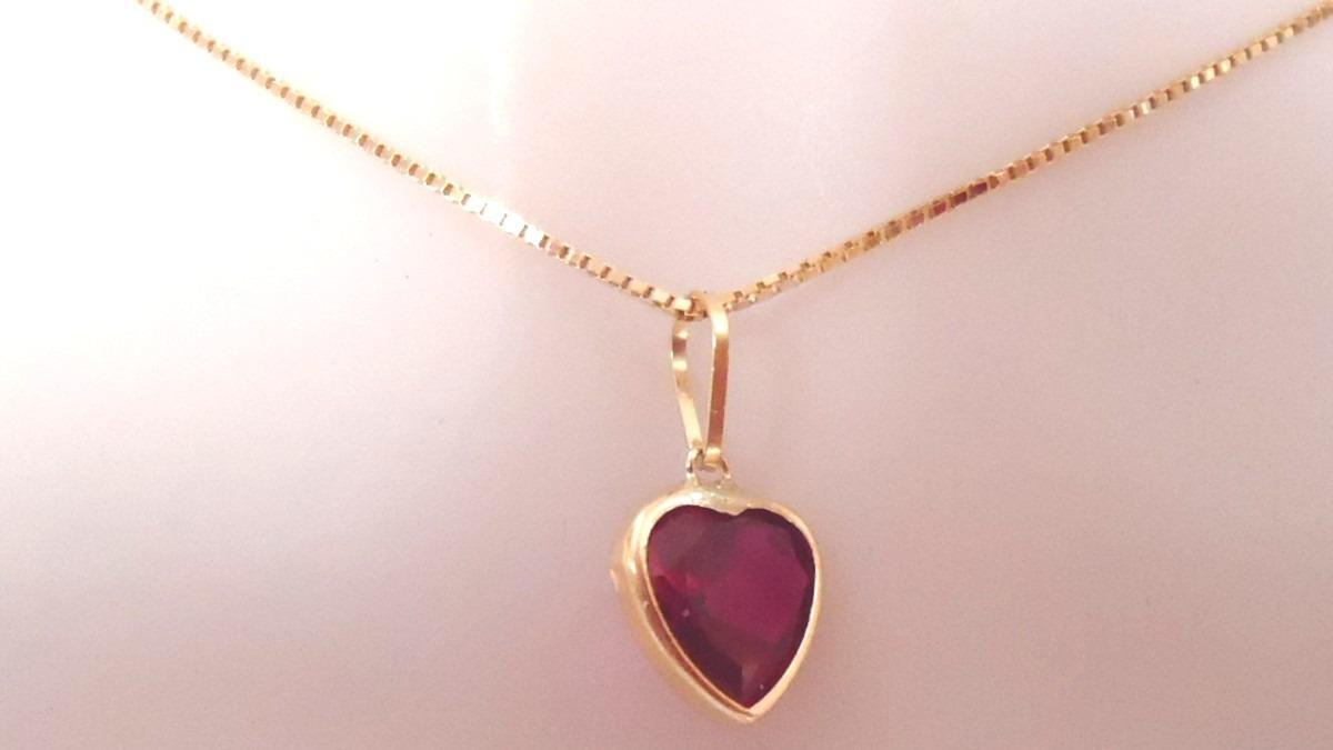 corrente e pingente coração pedra vermelho rubi ouro 18k-750. Carregando  zoom. ae4d9a0ebe
