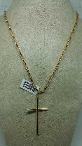 corrente e pingente cruz masculina ouro 18k 70cm 3mm *