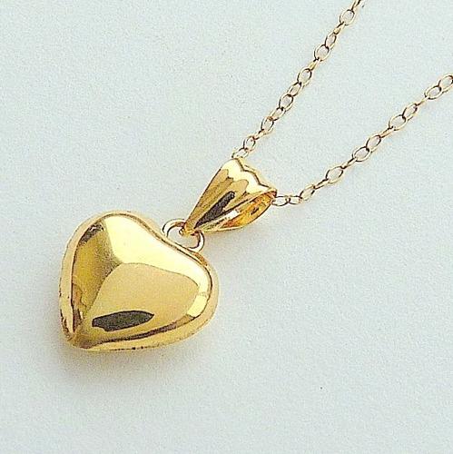 corrente e pingente de ouro 18 k pingente coração 1303