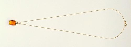 corrente e pingente de ouro 18k com citrino natural 1909