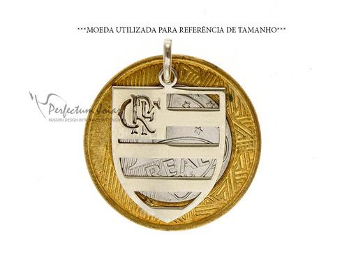 corrente e pingente feminino ou masculino flamengo prata 950