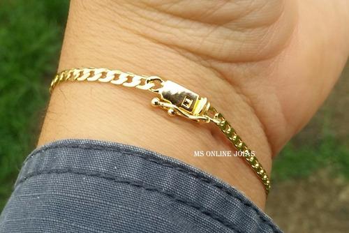 corrente e pulseira 10 camadas de ouro 18k garantia de 1 ano