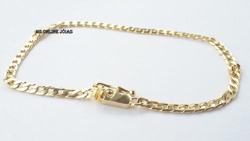 corrente e pulseira 3mm folheados a ouro 18k igual a ouro