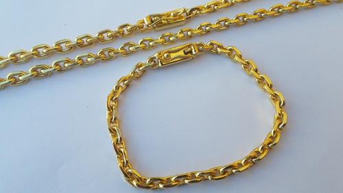 corrente e pulseira 6mm masculina banhada a ouro 18k