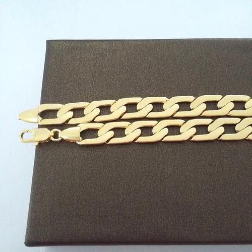 corrente e pulseira colar 60cm masculino banhada a ouro 18k