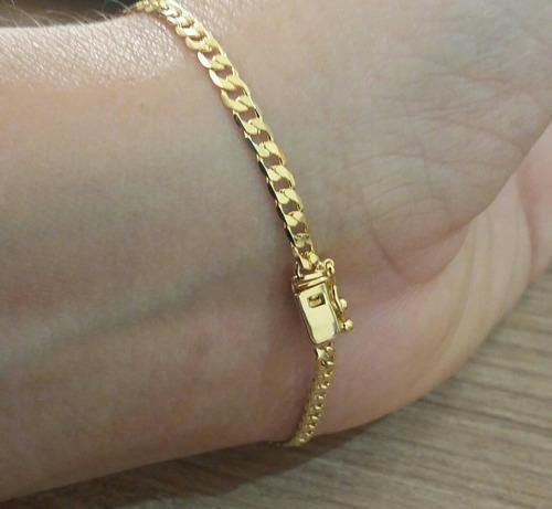 corrente e pulseira folheadas a ouro 18k 3mm com fecho gavet