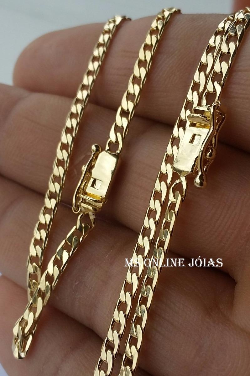 7d815672f3d85 corrente e pulseira masculina 3mm 70cm folheado a ouro 18k. Carregando zoom.