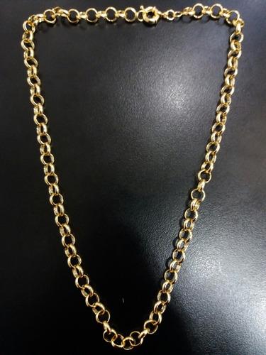 corrente elo português 60cm folheado a ouro 18k 7mm