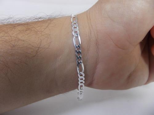 corrente elos 3x1 60cm 4 mm + pulseira 4 mm prata maciça 925