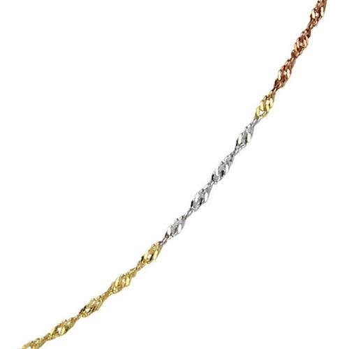 corrente em ouro 18k maciço em tres tons modelo singapura