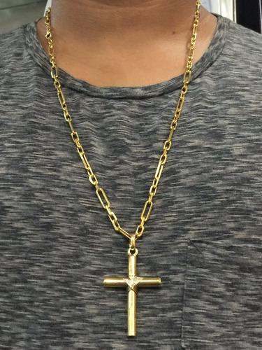 corrente em ouro com pingente cruz ouro 18k-750