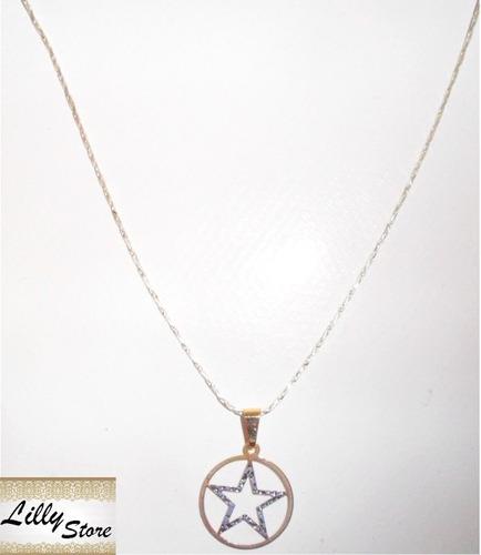 corrente em prata com pingente estrela davi prata/folh ouro