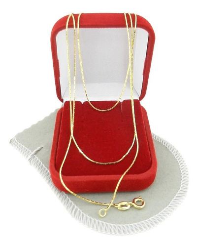 corrente feminina 40cm 0.5mm largura folheada ouro cr150