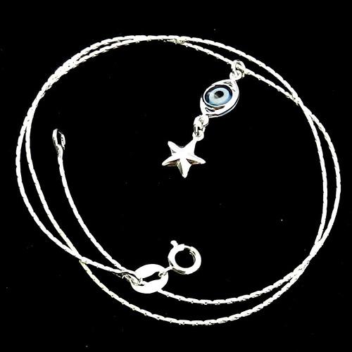 corrente feminina 40cm 0.5mm olho grego folheada prata cr579