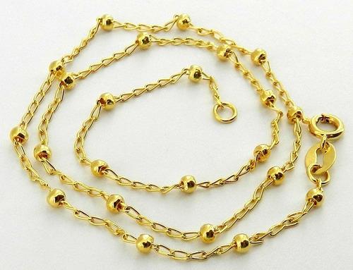 corrente feminina 40cm 1mm + bolinha 2mm folheado ouro cr591