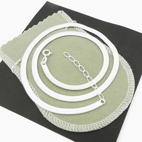 corrente feminina 40cm 4mm largura folheada prata cr339