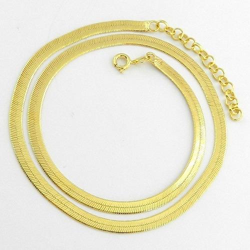 corrente feminina 45/50cm 3mm largura folheada ouro cr586