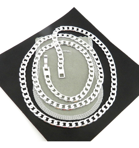 corrente feminina 45cm 6mm largura folheada prata cr418