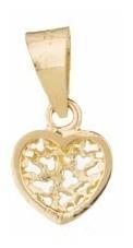 corrente feminina 45cm c/ pingente coração 6mm jóias ouro18k