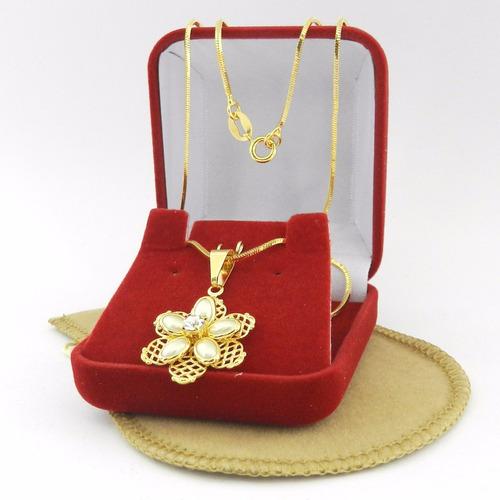 corrente feminina 50cm 1mm + flor perola folheada ouro cr589