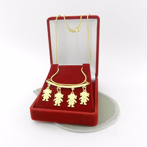 corrente feminina 50cm 4 meninas folheado ouro cr475