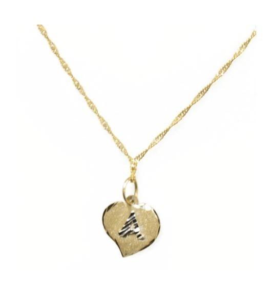 ecf970faaf9ac Corrente Feminina Com Pingente Letra Coração Ouro 18k - R  285,90 em ...