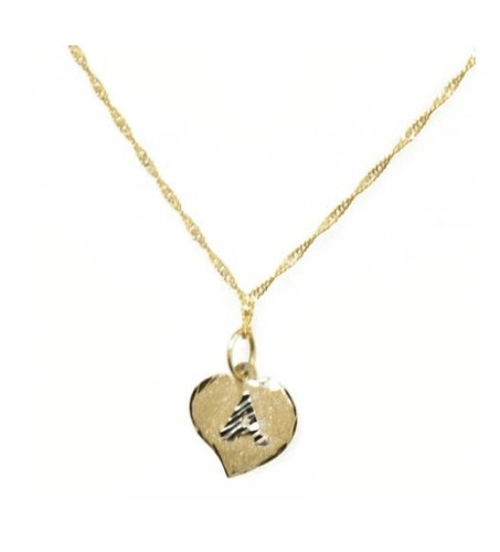 corrente feminina com pingente letra coração ouro 18k