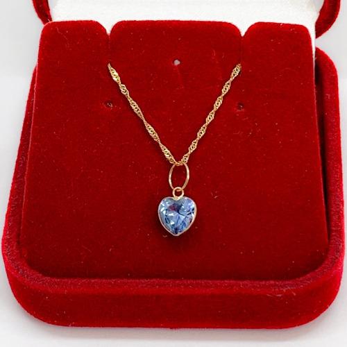 corrente feminina de 50 cm e pingente coração de ouro 18k